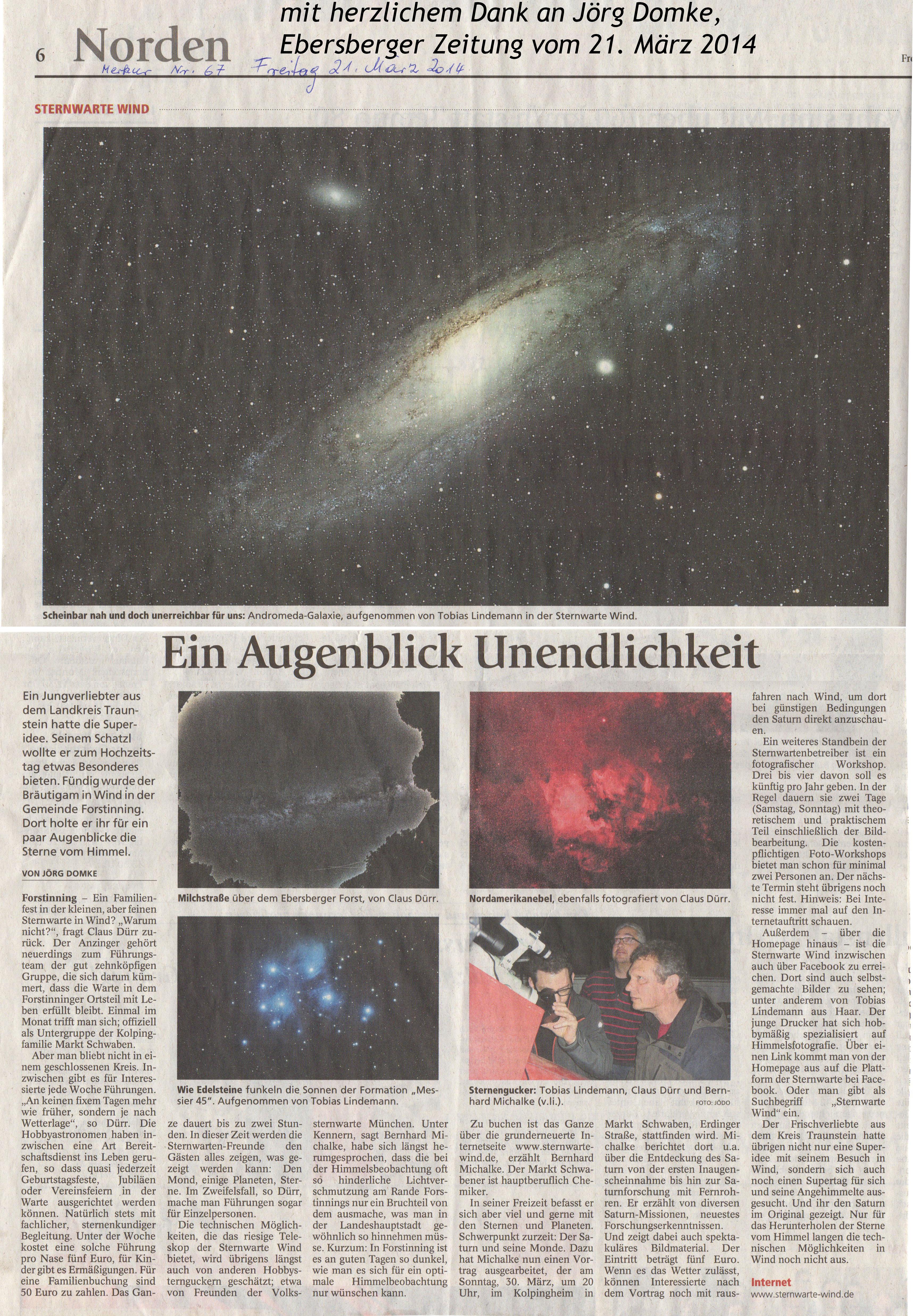 Artikel von Jörg Domke - Ebersberger Zeitung vom 21. März 2014